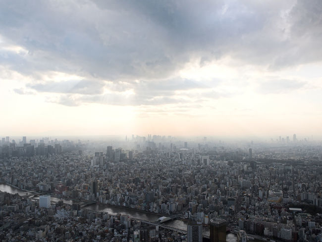 Unlimited cityscape. City Cityscape Cloud Japan Rays Of Light Shinjuku Tokyo Architecture Building Exterior Built Structure City Cityscape Day High Angle View Horizon Landscape Metropolis Mist Modern Outdoors River Sky Skyscraper Town