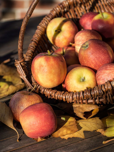 Wicker basket with red apples on a wooden table Apple Apple - Fruit Apples Autumn Autumn Colors Autumn Leaves Autumn🍁🍁🍁 Basket Focus On Foreground Food Freshness Fruits Garden Harvest Healthy Eating Heap Nature No People Outdoors Raw Food Ripe Still Life Warm Colors Wicker Wicker Basket