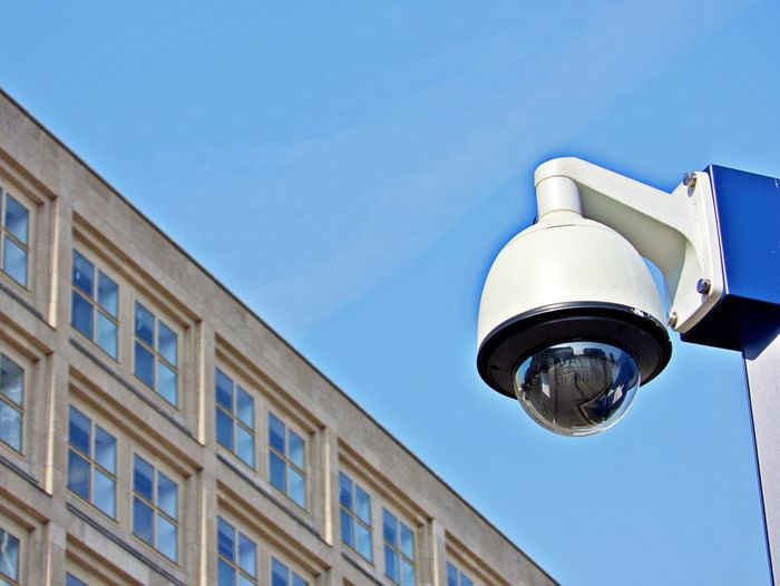 Low Angle View Building Exterior Built Structure Security Camera No People Building Technology Surveillance Outdoors Somebody Is Watching