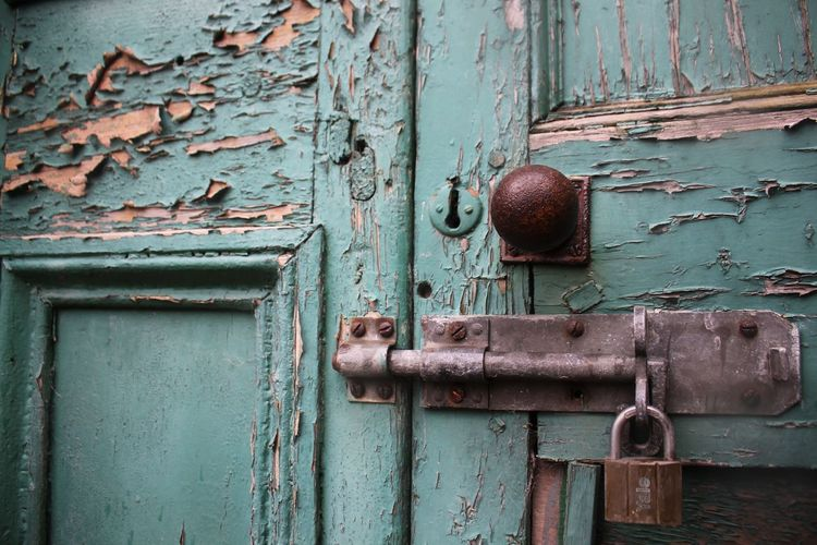 Abandoned Backgrounds Close-up Closed Day Deterioration Door Entrance Latch Lock Metal No People Old Outdoors Protection Rusty Safety Security Textured  Turquoise Colored Weathered Wood - Material The Architect - 2019 EyeEm Awards