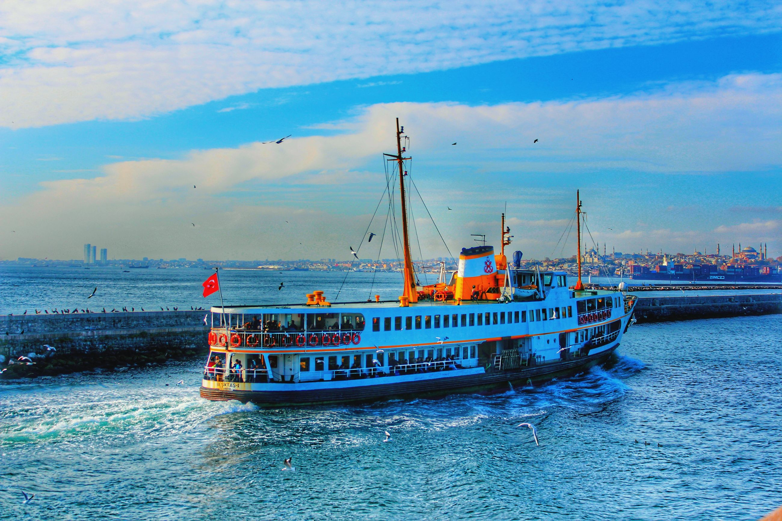 nautical vessel, transportation, mode of transport, sea, water, sky, waterfront, no people, nature, trawler, beauty in nature, cloud - sky, sailing, ferry, outdoors, mast, day
