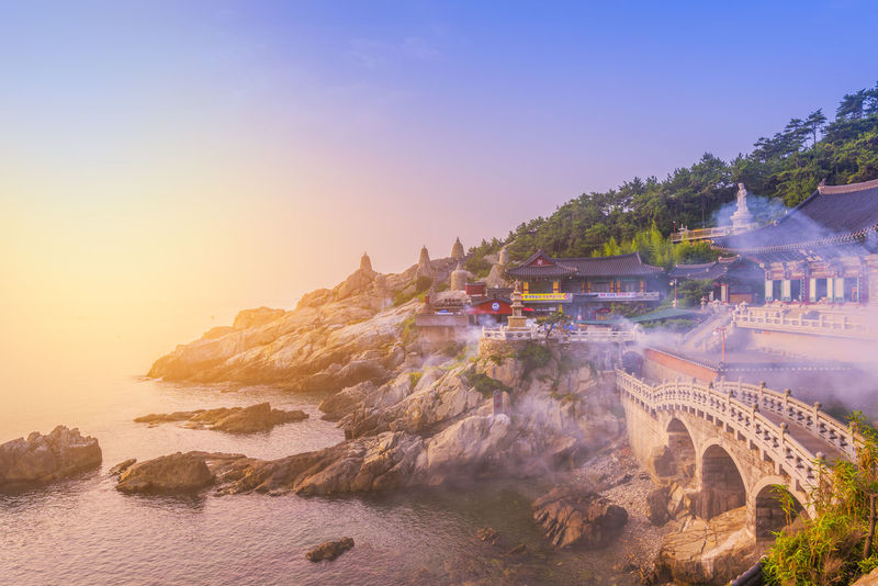 Korea Yonggungsa Busan Landscape Nature Sunset Travel Destinations Water Yonggungtemple
