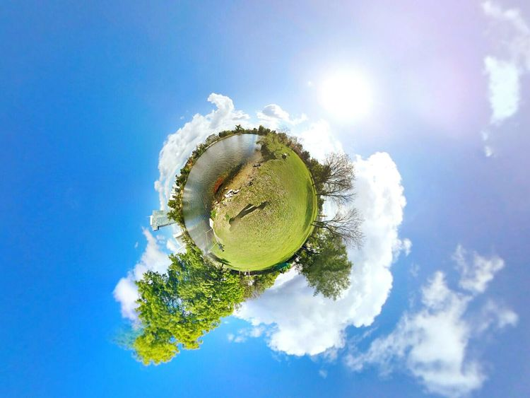 Planet Earth Cloud - Sky Water Day Tree Sky Nature Sunset Sunrise Landscape Vienna Selbst Lake Reflection Mountain Donau Danube Circle Planet - Space Theta360 Theta Spere Spereview Dramatic Sky Byself