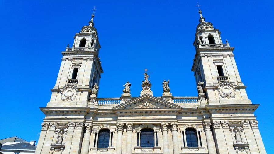 Low angle view of lugo cathedral against clear sky