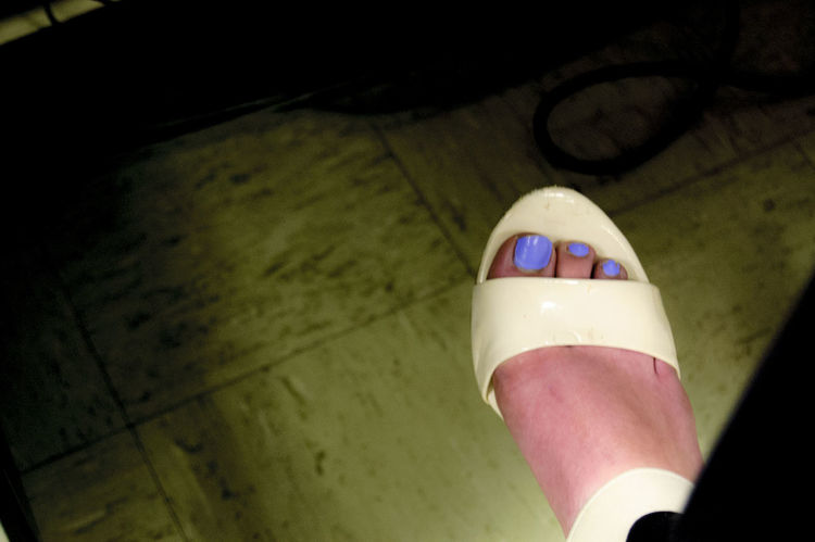 Beautiful Close-up Darkbackground High Angle View Human Body Part Indoors  Loveit❤ Myfoot Myshoe Nailpolish One Person Purple White