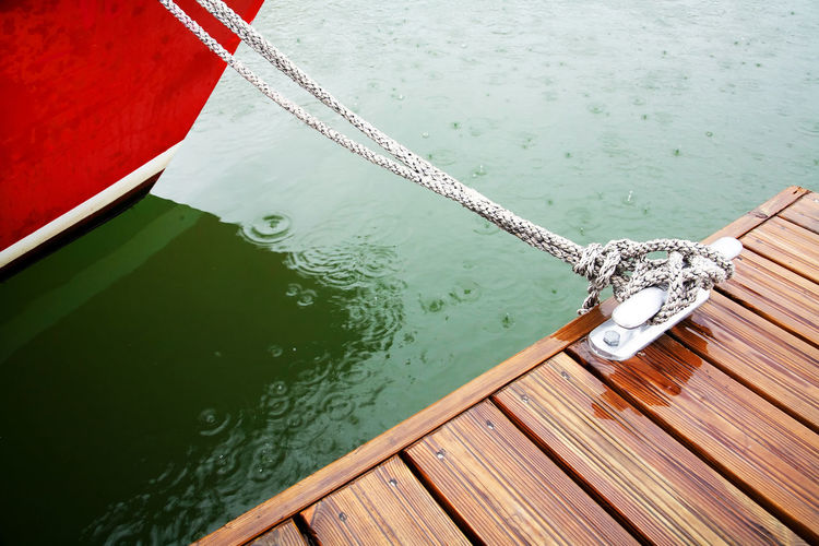 Close-Up Of Rope Tied To Wooden Surface