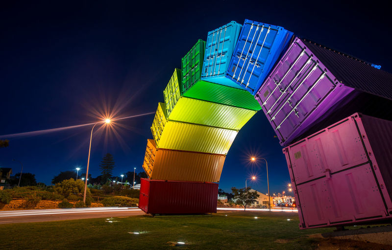 Container rainbow at night Australia Fremantle, Western Australia Nikon Architecture Building Exterior Built Structure Containerranbow Illuminated Lighttrails Long Exposure Multi Colored Night No People Outdoors Sky Mobility In Mega Cities