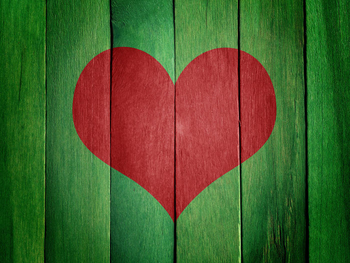 Close-up Day Green Color Heart Shape Love No People Red Relationship Difficulties Textured  Wood - Material