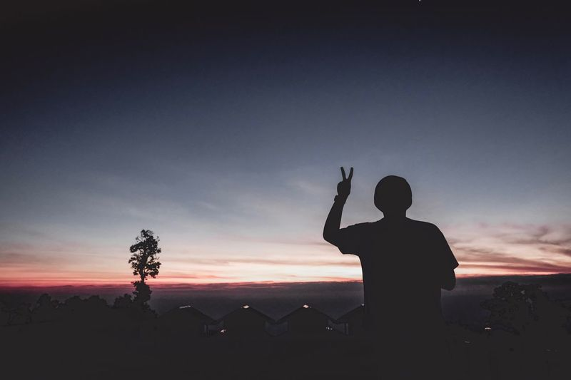 Silhouette Man Gesturing Peace Sign Against Sky During Sunset