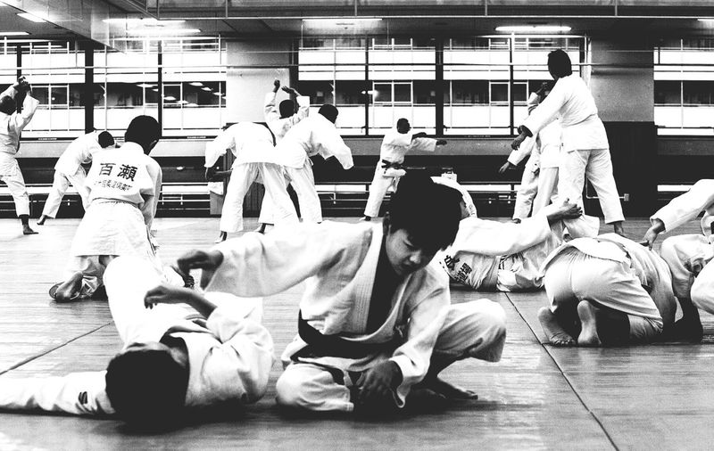 Black And White Medium Group Of People Spectator Japan Monochrome Photography Capturing Movement Fighting Jiu-jitsu Men Fight