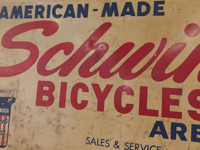 Communication Red Text Close-up No People Day Indoors  Vintage Signs Bicycling Schwinn American Made