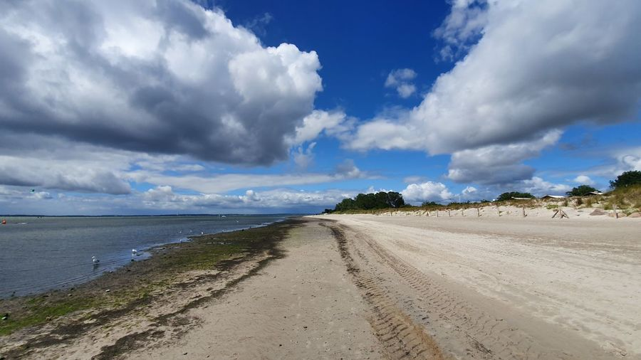 Panoramic view of road by beach against sky