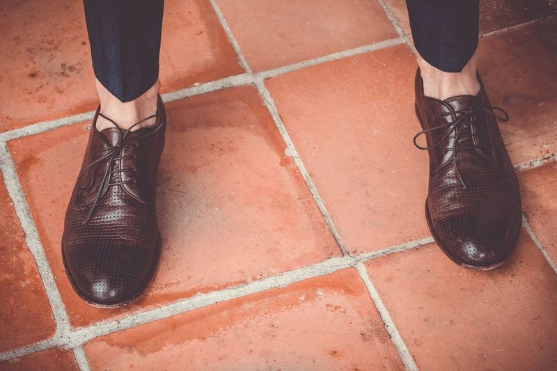 READY TO GO Low Section Shoe Human Leg Body Part Human Body Part One Person High Angle View Real People Day Lifestyles Outdoors Standing Court Brown Tiled Floor Shadow EyeEmNewHere