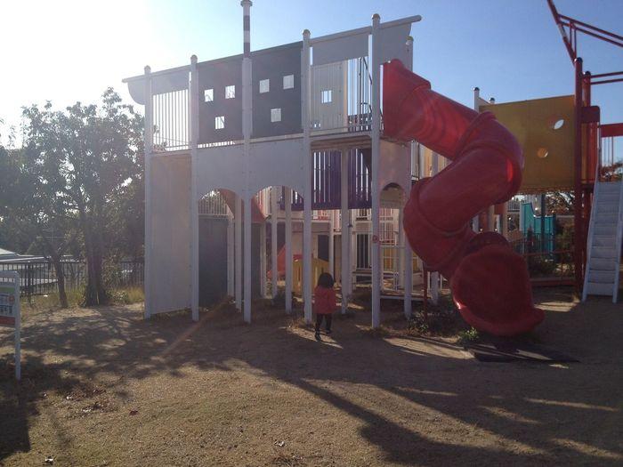 朝一で舞州緑地!大型遊具にテンションあがる。