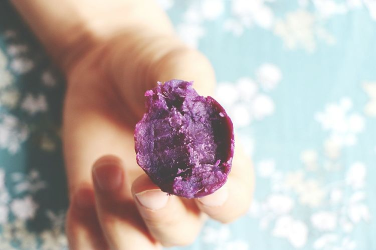 Human Body Part Human Hand Holding Purple Potatoes Photography Day Indoors  Hot Day Food Healthy Eating