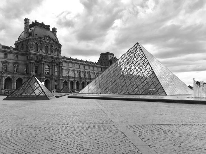 Glass Pyramid Visit Paris Black & White Nobody Around Museum Louvre Triangle Architecture Built Structure Sky History The Past Building Exterior Travel Destinations Pyramid Tourism City Building Outdoors No People