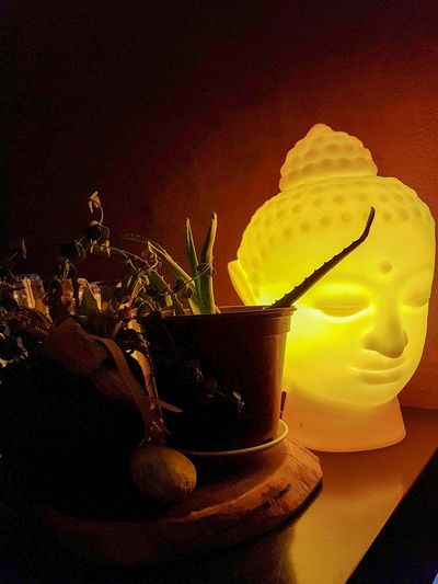 buddha lamp Interior Design Cool Design Potted Plant Travel Destinations Cocktail Bar Evening Details Interior Details Lamp Design Buddha Head Buddha
