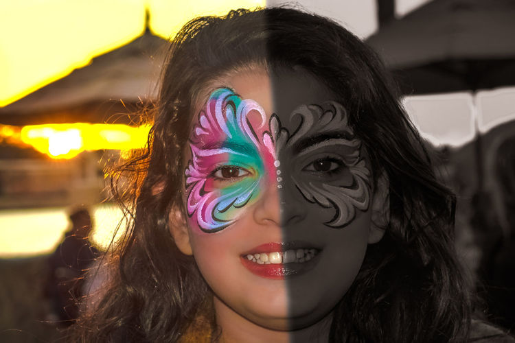 Black&Color - Giovanna Adult Adults Only Black&color Close-up Day Fun Headshot Human Body Part Mask One Woman Only Only Women Outdoors Painting People Portrait Smiling Sun Sunset Young Adult