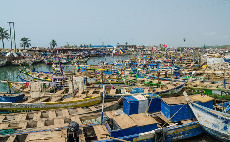 Flags Fishing Boat African Ghana Africa Fishing Boats Harbor Harbour Elmina