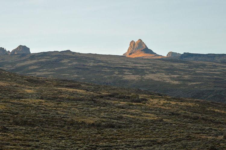 Batian peak, mount kenya's highest peak seen from old moses camp, mount kenya national park