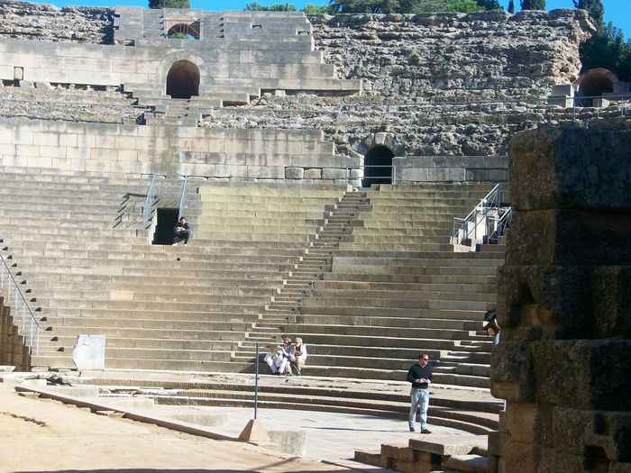 Low Angle View Of Roman Theatre In Merida