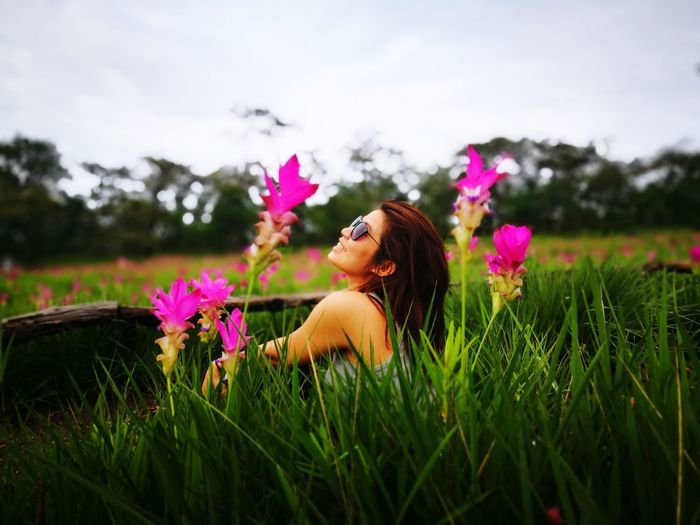 Happy day Flower Field Purple Pink Color Nature Cloud - Sky One Person Only Women Rural Scene Wearing Flowers Beauty Me My Camera Love Photograph Backgrounds Landscape
