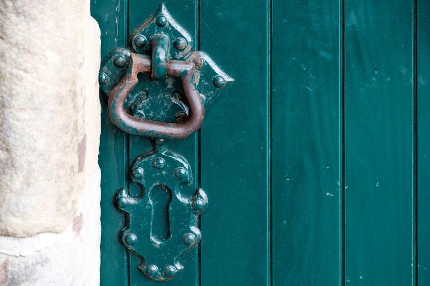 EyeEm Best Shots Chain Close-up Closed Day Door Door Knocker Doorknob Entrance Eye4photography  Handle Knob Latch Lock Metal No People Old Ornate Outdoors Protection Safety Security Silver Colored Turquoise Colored Wood - Material