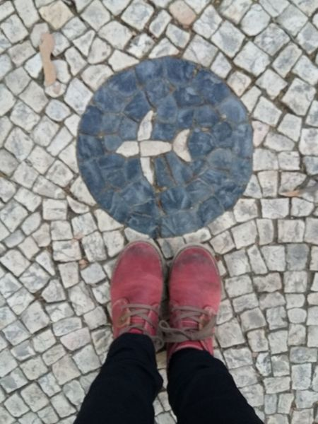 Portuguese cobblestone. Lisbon sidewalk. Floortraits Feet Portuguese Cobblestone Lisbon - Portugal Lisbonlovers Lisb Human Body Part Personal Perspective Human Leg Low Section Shoe High Angle View One Person Standing Directly Above
