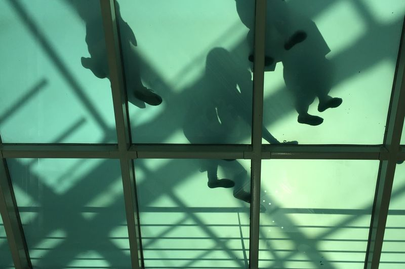 Shadow Indoors  Backgrounds Lines And Shapes Glass - Material Glass Bridge Walking The Week On EyeEm