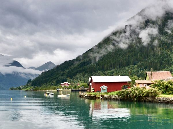 Travel Photography Serenity Peaceful Fjord Norway Calmness World Travel Natural Beauty Planet Earth Mountain Water Tree Plant Scenics - Nature Beauty In Nature Lake Cloud - Sky Building Sky Nature Day Outdoors Waterfront No People