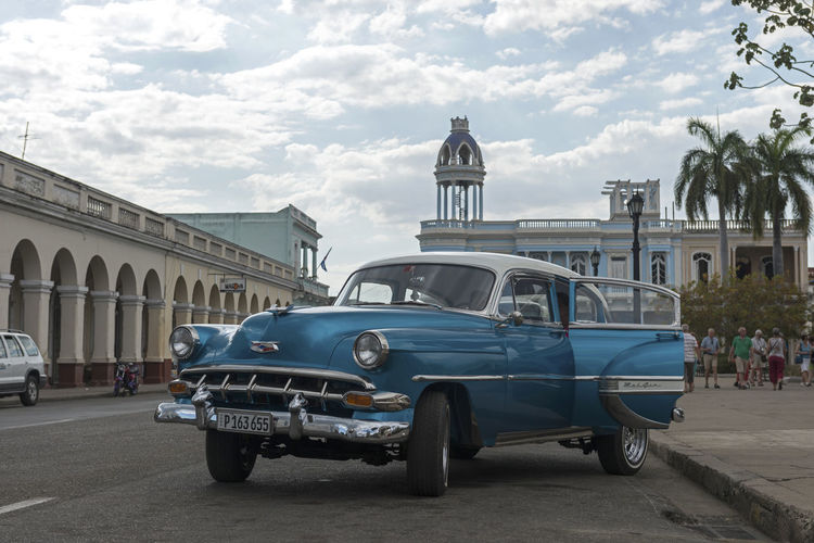 Blue Car Cienfuegos Cienfuegos, Cuba Cityscape Cuba, Lifestyles Old Buildings Old Car Old Times Streetphotography