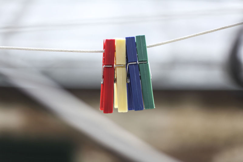 Clothes Pins On Cloth Line