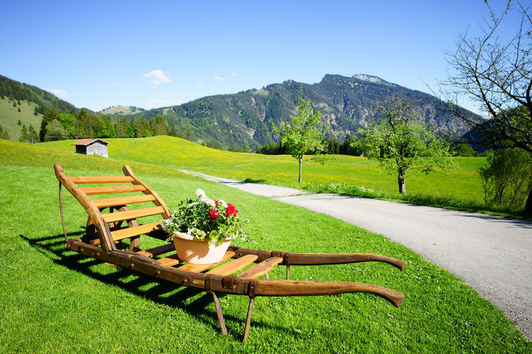 Alte Schubkarre in Hochkreuth (Old wheelbarrow in Hochkreuth, Bavaria, Germany) Wheelbarrow Flower Grass Landscape Mountain Mountain Range Nature No People Old Wheelbarrow Tranquil Scene