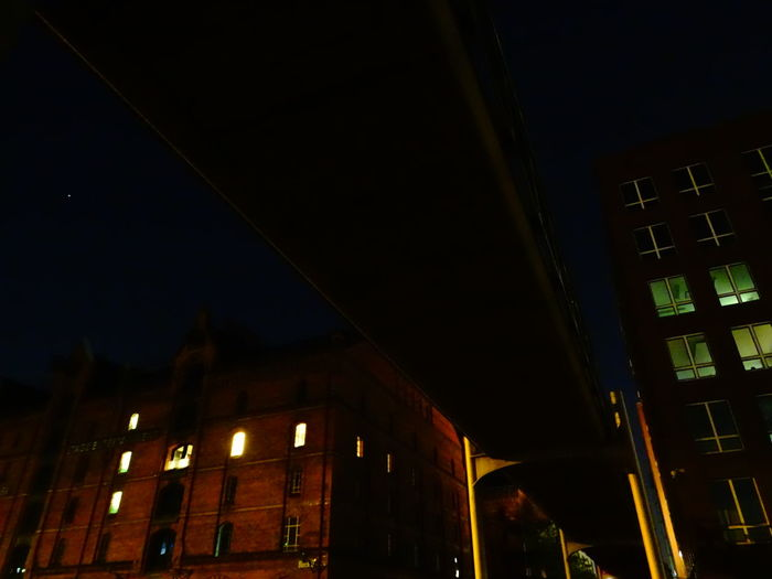 Night Illuminated Architecture Building Exterior Built StructureArchitecture Low Angle View Dark City Sky Outdoors City Life Lit Diminishing PerspectiveNo People Bridge - Man Made Structure In The Dark Hamburg Harbour Financial District  Speicherstadt Hamburg Financial District  Night Lights Dark