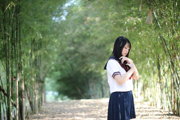Young woman standing amidst bamboo groove