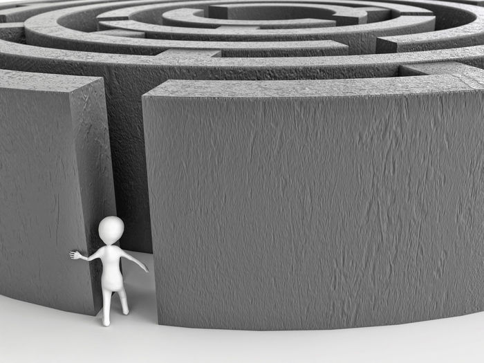3D rendering of white stick man entering big gray concrete wall maze 3d Rendering Labyrinth Maze Stick Man Wall Challenge Curiosity Figurine  Illustration White