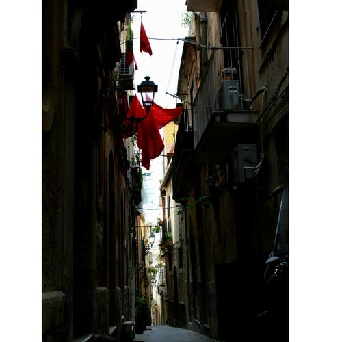 Chiaroscuro  Redflag Darkness And Light Splash Of Color Italy Ortigia Blackwhiteandred Hanging Flag Building Exterior Light And Shadow The Secret Spaces City Silhouette