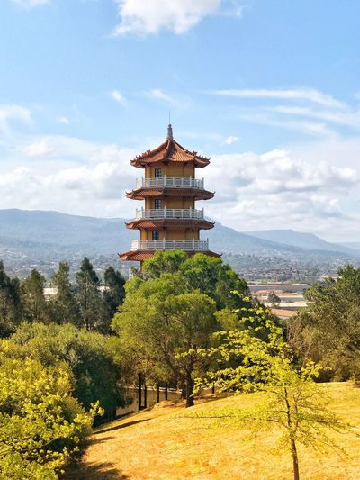 Pagoda of Chinese style in their forest. Great Atmosphere Thebestseller Thebestplace  Thebestshooter Architecture Religion Place Of Worship Built Structure Scenics Sky Tree Spirituality Travel Destinations Cloud - Sky Day Beauty In Nature Landscape Tranquil Scene History Nature Building Exterior No People Tranquility Outdoors
