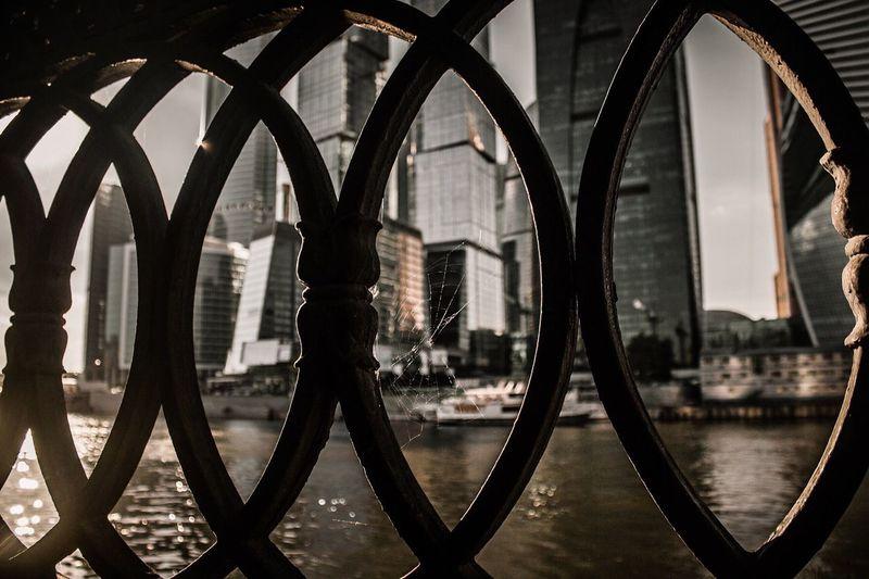 Buildings seen through of metal grate in city