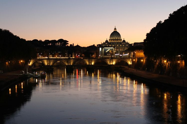 Architecture Bridge - Man Made Structure Built Structure City Cityscape Dome Dusk Frainf History Illuminated Italy Nautical Vessel Night No People Outdoors Politics And Government Reflection Rome San Pietro In Vaticano Sky Sunset Transportation Travel Travel Destinations Water Your Ticket To Europe