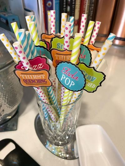 Girls night paper straws Decoration Accessory Girls Night Out Entertaining Colorful Paper Straw Straw Indoors  Multi Colored No People Still Life High Angle View Household Equipment Sweet Food Close-up Glass Variation Food And Drink Container Drinking Glass Indulgence