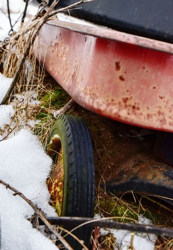 Rusty old red wagon Transportation Land Vehicle Mode Of Transport Stationary Close-up Outdoors Wheel No People Day Tire Red Wagon Bradleywarren Photography Bradley Olson Wagon  Wagon Wheel Wagon  Vintage Childhood Childhood Memories Reminiscing Junkyard Minnesota Snow Winter Greeting Card