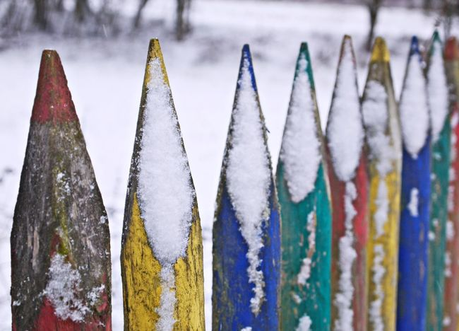 Close-up Day Design Work Fence Focus On Foreground Handmade Manmade Multi Colored Multi Coloured No People Outdoors Snow Winter