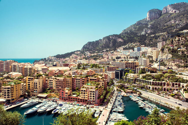 View of Fontvieille. Principality of Monaco Bright Colors City Cityscape Harbor Marina Mediterranean Sea Monaco Aerial View Building Exterior Built Structure Fontvieille Landmark Landscape Luxury Nautical Vessel Outdoors Port Principality Of Monaco Residential Building Sea Sunny Day Tourist Resort Travel Destinations Urban Landscape Yacht