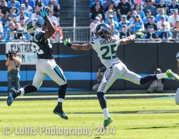 Carolina Panthers wide receiver catches a pass against the Seattle Seahawks in Charlotte, NC on Oct. 26. NFL Football Sports Photography Keep Pounding Gridiron