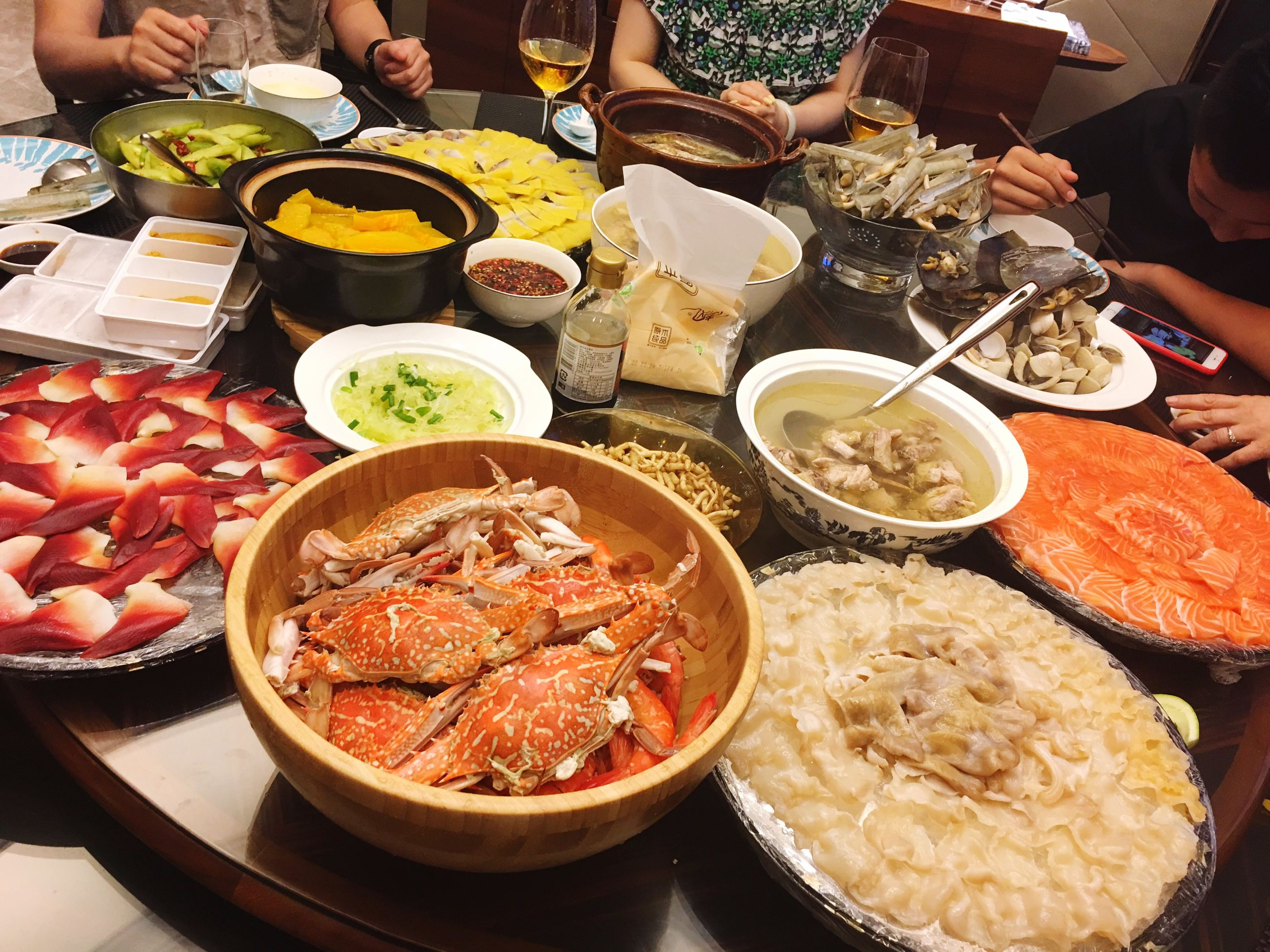 food and drink, food, plate, meat, freshness, serving size, healthy eating, ready-to-eat, meal, table, bowl, seafood, high angle view, soup, indoors, chopsticks, variation, real people, cooked, korean food, men, eating, human hand, one person, close-up, day, people