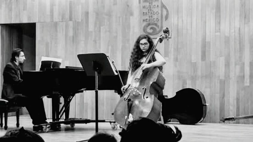 Musician Musical Instrument Bass Doublebass Girly Girl Happiness ♡ Blackandwhite Blackandwhite Photography String Instrument Classical Music Piano Conservatory
