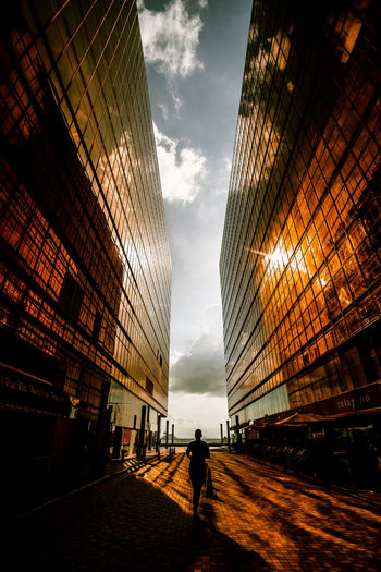 Rear view of person amidst buildings on walkway in city