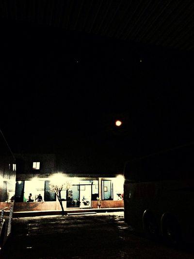 in the middle of the night, in the middle of the road Waiting Moon Night