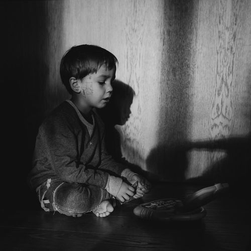 The Week On EyeEm Blackandwhite Boys Child Childhood Children Only Cute Day Elementary Age Full Length Indoors  One Boy Only One Person People Real People Sitting Smiling Tattoo